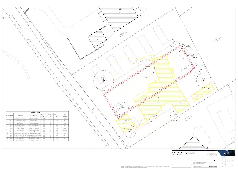 Plan d'aménagement paysager avec le calcul du montant compensatoire pour la demande d'autorisation d'abattage à Genève par VIMADE Architectes paysagistes.