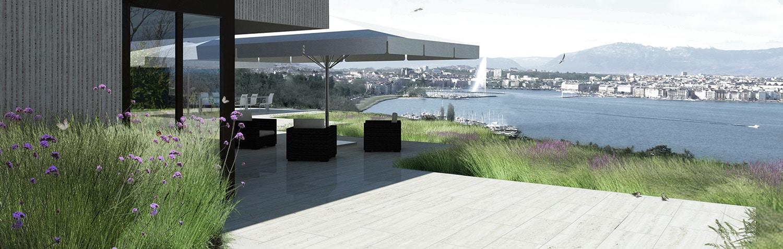 Perspective en rendu informatique par VIMADE Architectes paysagistes à Genève