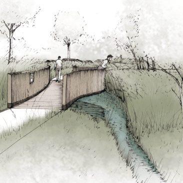 Perspective aménagement en bord de ruisseau d'une promenade par le bureau VIMADE Architectes paysagistes, Genève.
