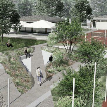 Perspective d'ambiance, projet d'aménagement d'un Tennis Club par Vimade architectes paysagistes, Genève.