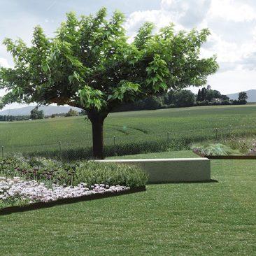 Perspective d'ambiance pour le projet Brèche végétale et sa micro topographie du bureau VIMADE Architectes paysagiste, Genève.