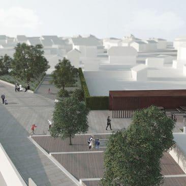Vue d'ensemble, perspective d'architecture du paysage du projet de la nouvelle gare de Pregny-Chambésy, pour le Léman Express en lien avec le projet du CEVA, VIMADE architectes paysagistes, Genève.