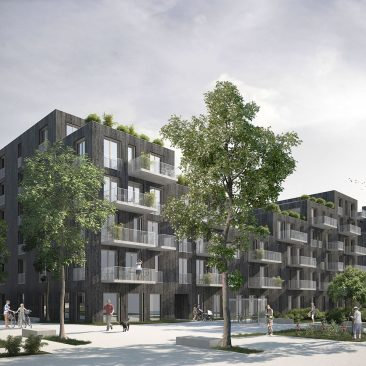 Perspective du projet d'écoquartier des Plaines-du-Loup montrant les jardins partagés et les places publiques du quartier, VIMADE Genève.