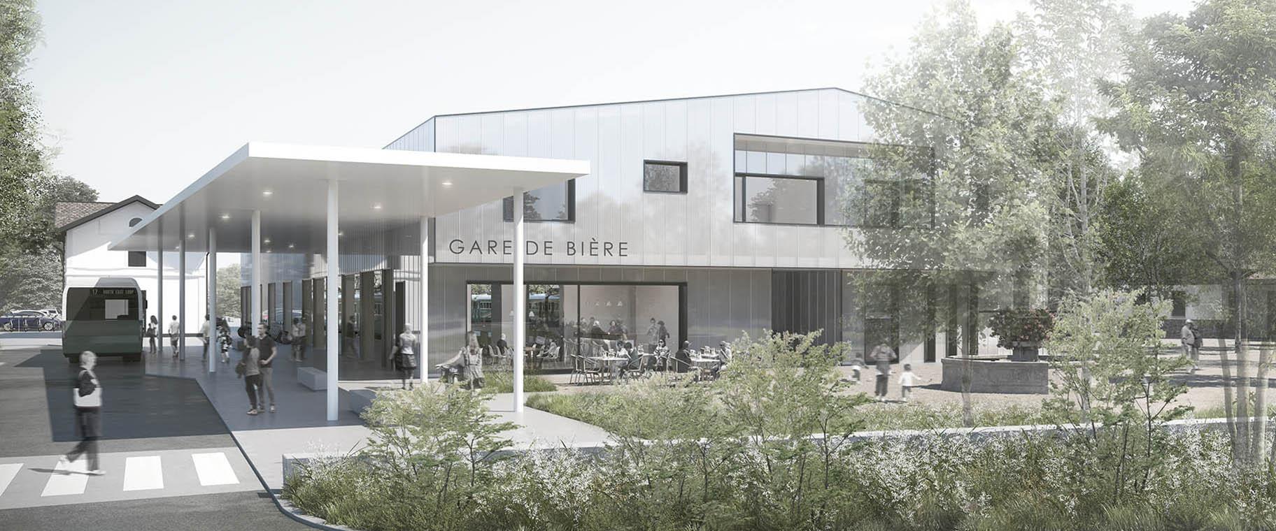Perspective pour le projet de réaménagement de la gare de Bière, par le bureau Starta architectes et VIMADE Architectes paysagistes à Genève.