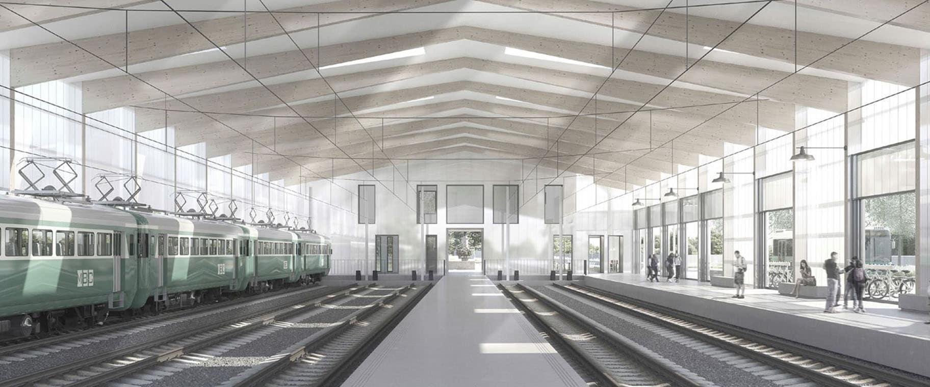 Perspective intérieur de la gare de Bière pour le mandat d'étude parallèle de son réaménagement par le bureau Strata Architectes et VIMADE Architectes paysagistes
