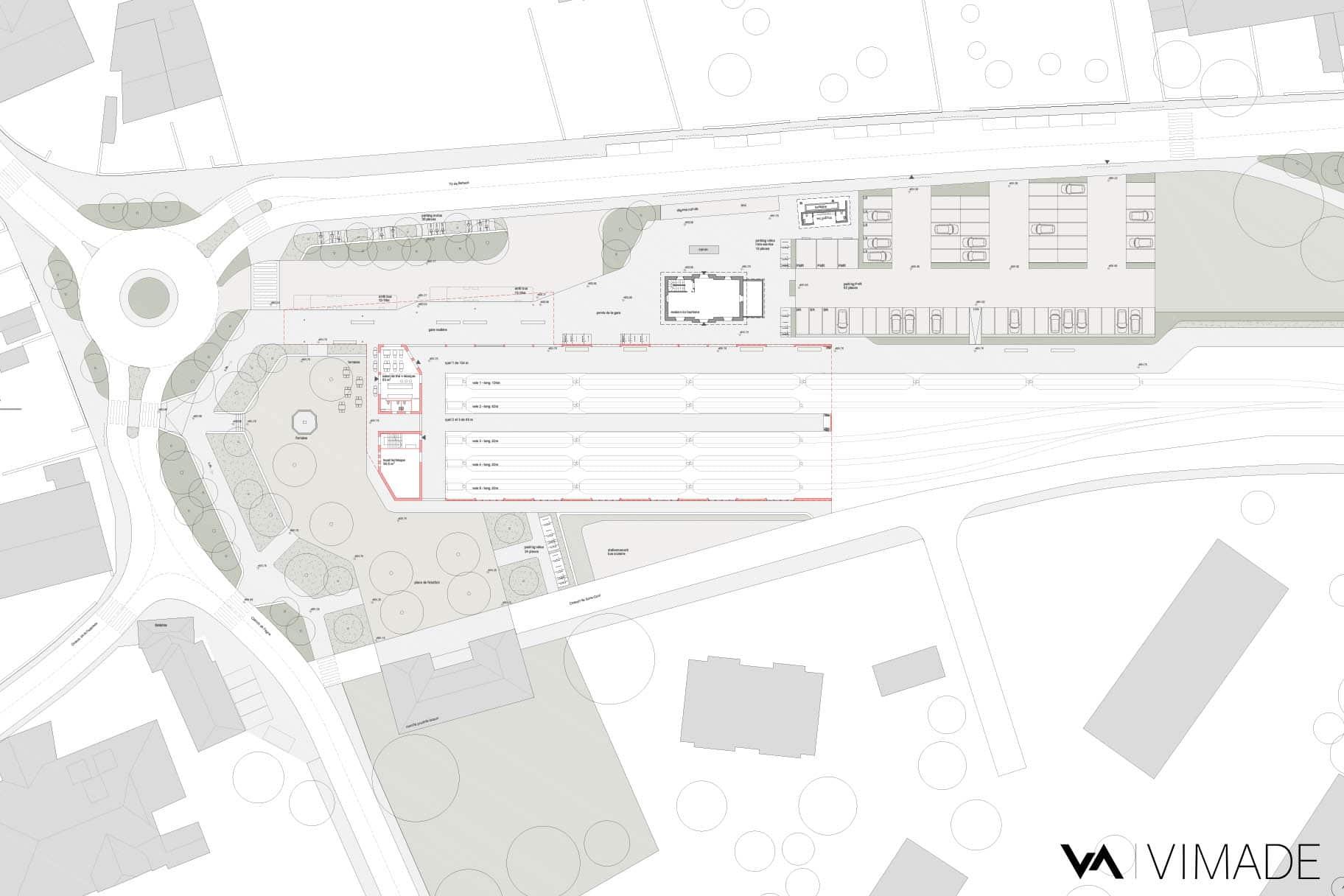 Plan d'aménagement pour la gare de Bière dans le cadre d'un MEP avec le bureau d'architectes Strata et VIMADE Architectes paysagistes