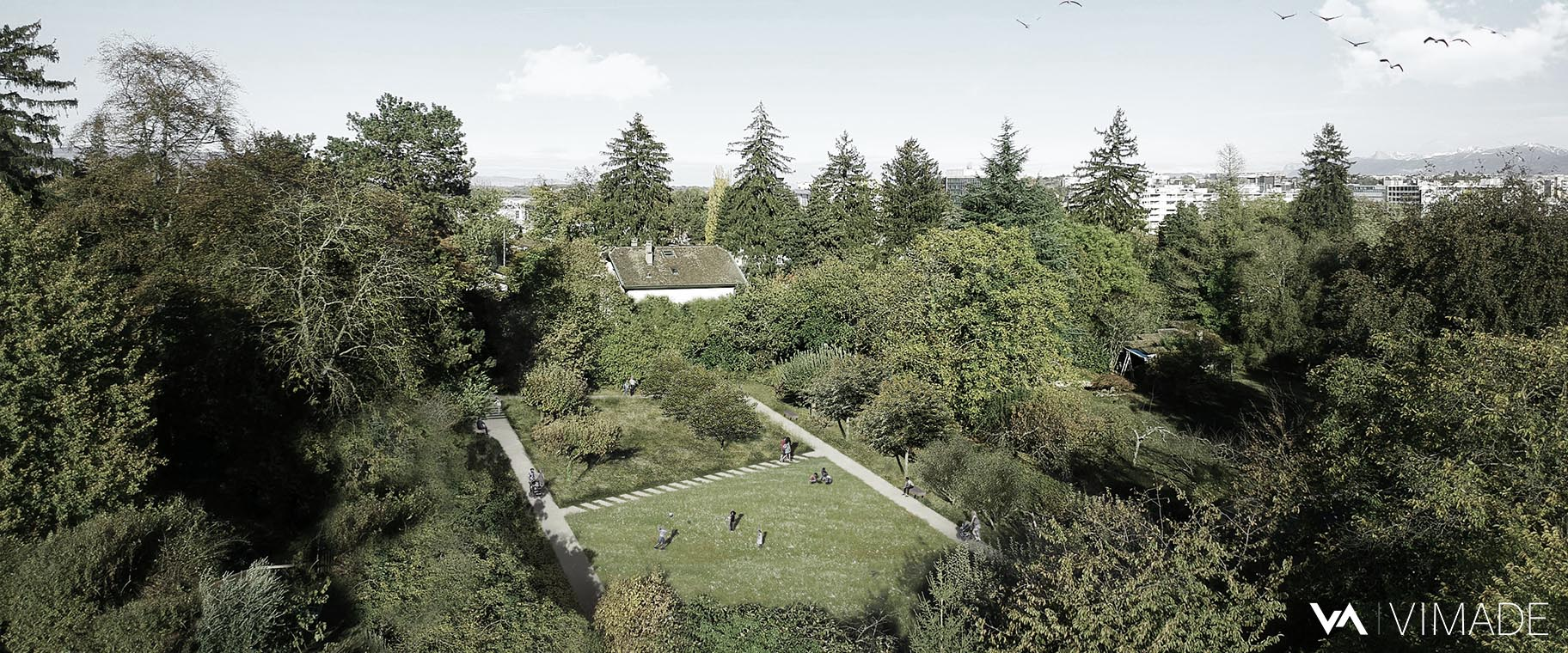 Perspective pour le parc du signal jouxtant l'école allemande de Genève à Vernier, par le bureau VIMADE Architectes paysagistes