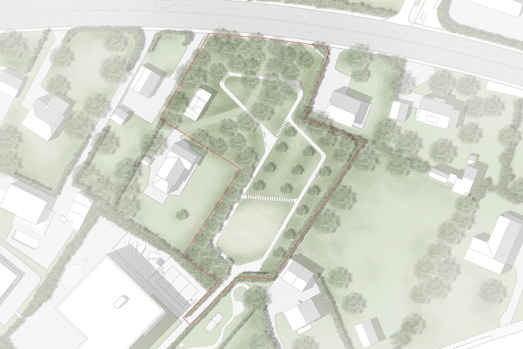 Plan masse d'avant-projet pour le parc du Signal jouxtant l'école allemande de Genève à Vernier, par le bureau VIMADE Architectes paysagistes