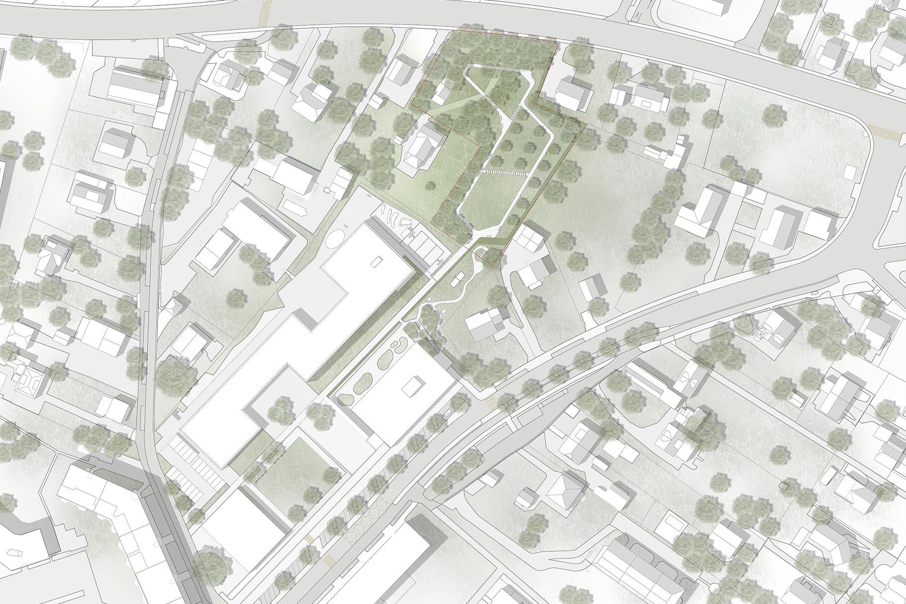 Plan masse général d'avant-projet pour le parc du Signal jouxtant l'école allemande de Genève à Vernier, par le bureau VIMADE Architectes paysagistes