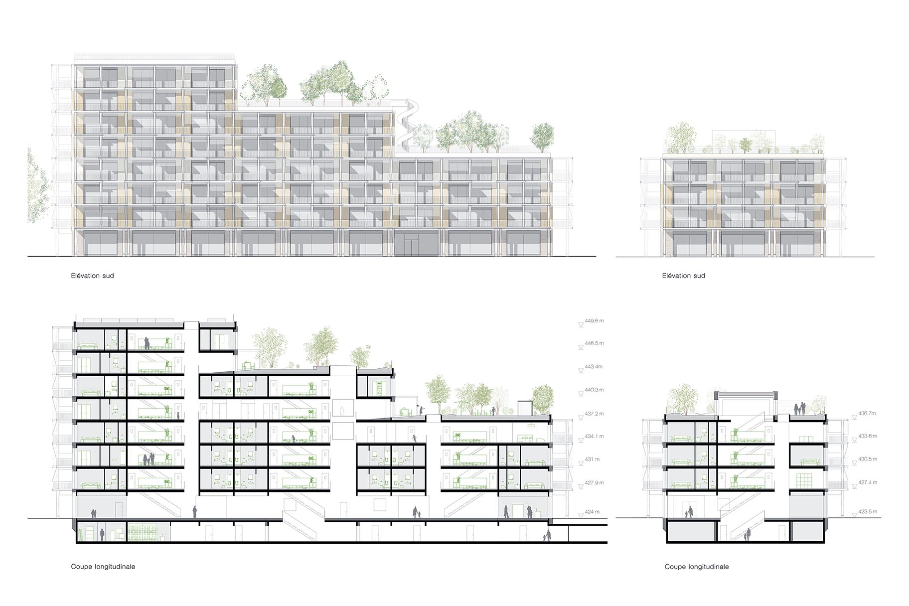 Coupes et élévations du projet lauréat du concours de Chapelle-les-Sciers à Plan-les-Ouates, VIMADE Architecture du paysage.