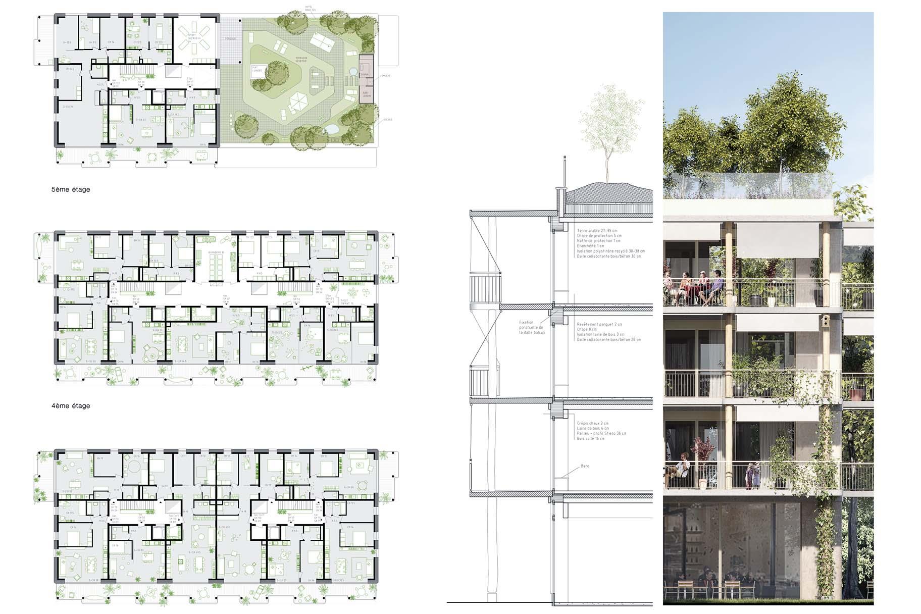Plans, coupes et élévations du projet lauréat du concours de Chapelle-les-Sciers à Plan-les-Ouates, toitures végétalisées intensives par VIMADE Architecture du paysage.