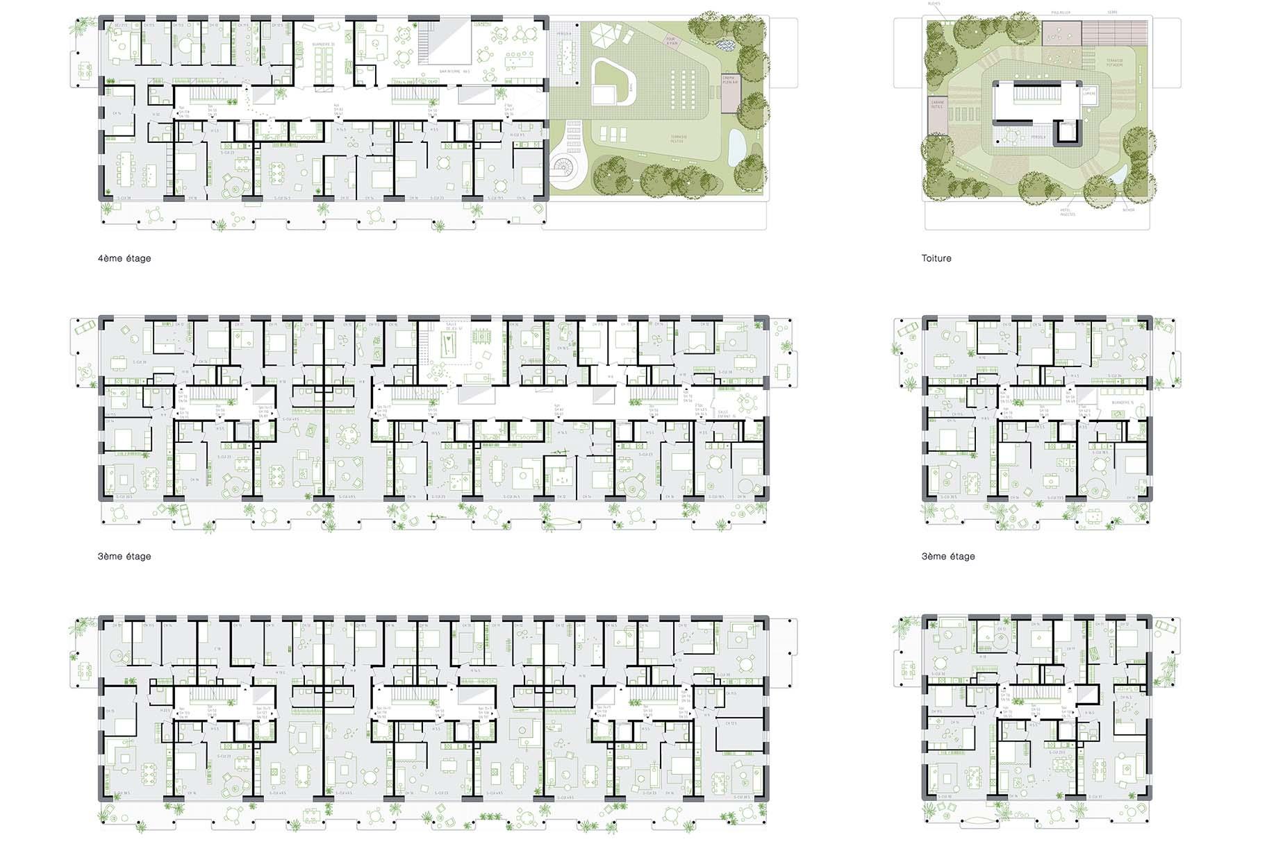 Plans et coupes du projet lauréat du concours de Chapelle-les-Sciers à Plan-les-Ouates, toitures végétalisées intensives par VIMADE Architecture du paysage.
