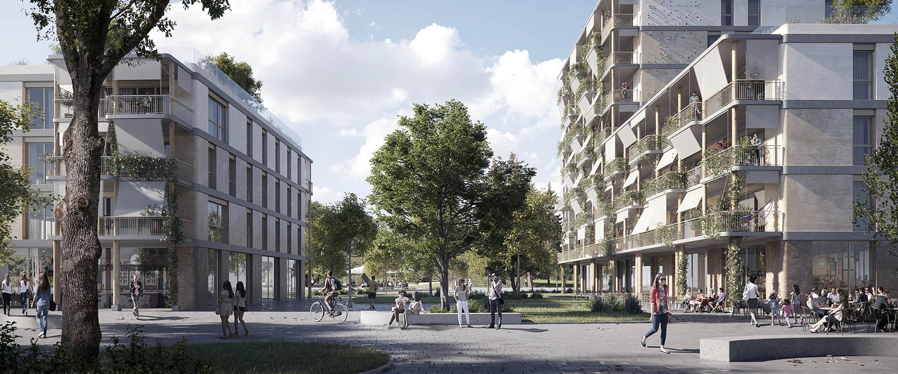 Perspective du projet lauréat pour le concours Chapelle-les-Sciers à Plan-les-Ouates par les bureaux ATBA et VIMADE architectes paysagistes pour la coopérative la Bistoquette, espace public ouvert et partagé.