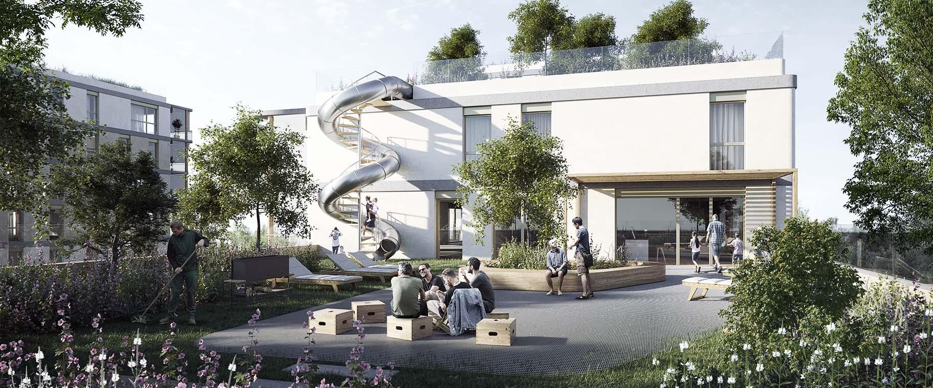 Perspective du projet lauréat pour le concours Chapelle-les-Sciers à Plan-les-Ouates par les bureaux ATBA et VIMADE pour la coopérative la Bistoquette, toiture végétalisé et nature en ville.