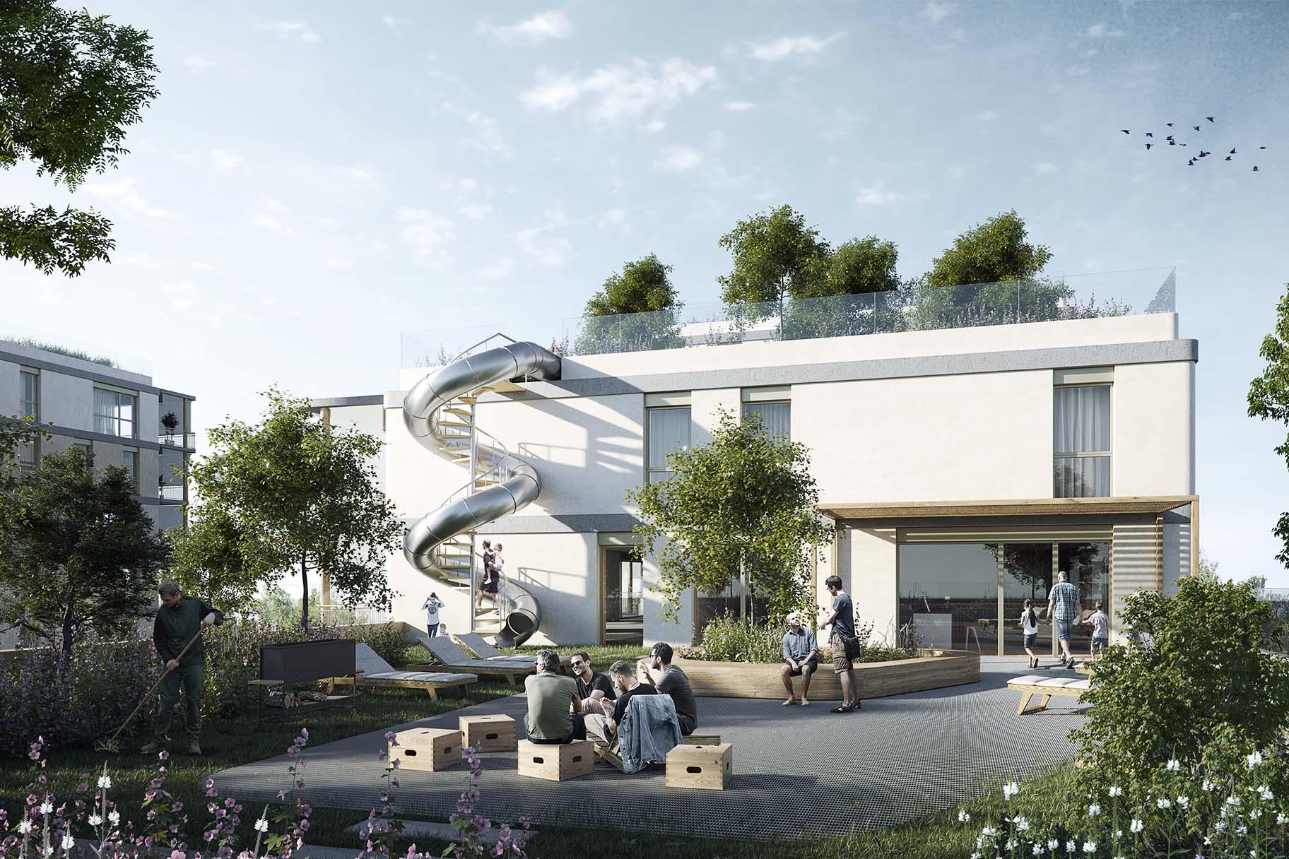 Toitures terrasses végétalisées pour le projet lauréat du concours de Chapelle-les-Sciers à Plan-les-Ouates avec tobogan, caillebotis végétalisés et espaces de détente, VIMADE Architecture du paysage.