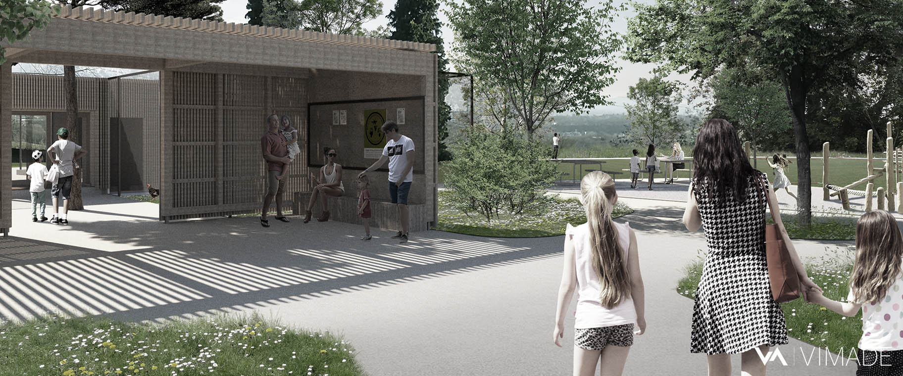 Perspective de l'entrée du parc animalier de l'Esplanade à Vernier s'ouvrant sur le paysage du Rhône par le bureau VIMADE Architectes paysagistes à Genève.