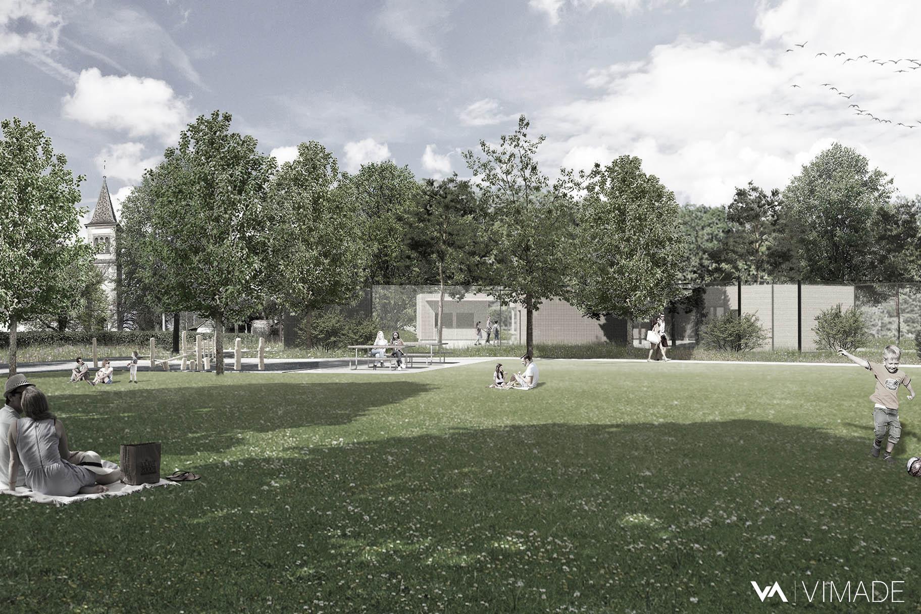 Perspective de la grande pelouse centrale du parc animalier de l'Esplanade à Vernier, articulant une promenade, une place de jeux en bois et un espace pique-nique, par le bureau VIMADE Architectes paysagistes à Genève.