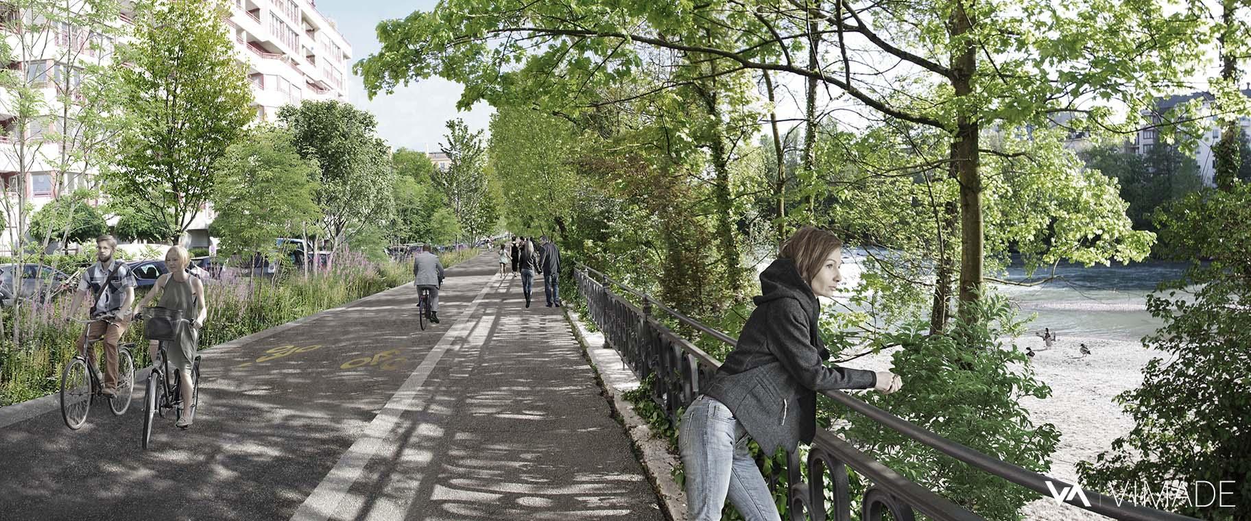 Perspective d'ambiance pour l'image directrice de l'aménagement des berges de l'Arve à Genève par le bureau VIMADE Architectes paysagistes.