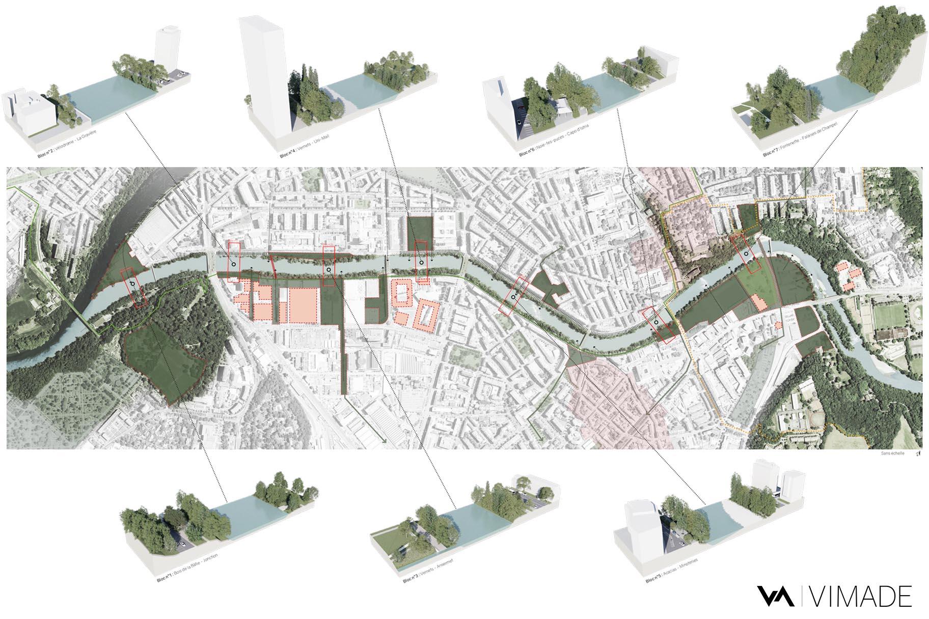 Plan de l'image directrice pour l'aménagement des berges de l'Arve à Genève par le bureau VIMADE Architectes paysagistes.