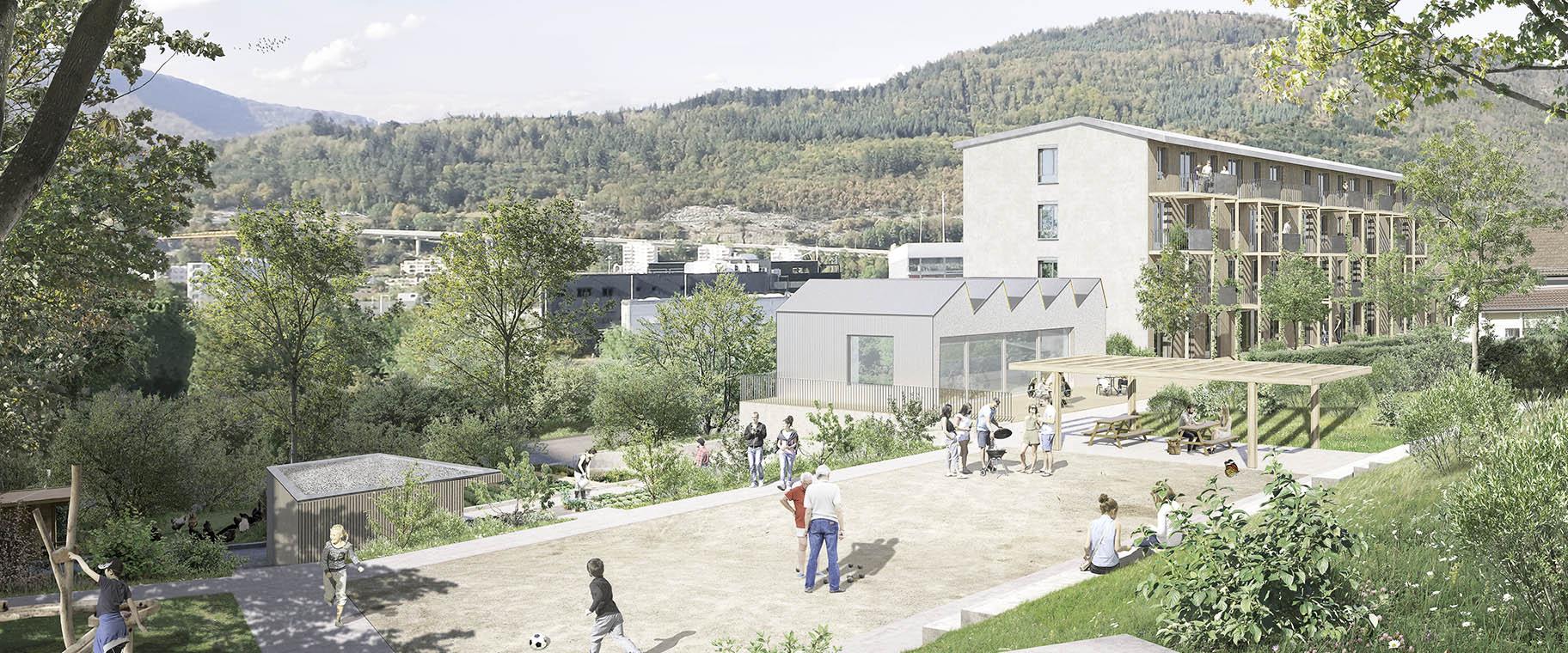 Perspective un concours d'architecture pour des logements coopératif au Chemin Mettlen à Bienne, VIMADE Architectes paysagiste et ATBA Architectes