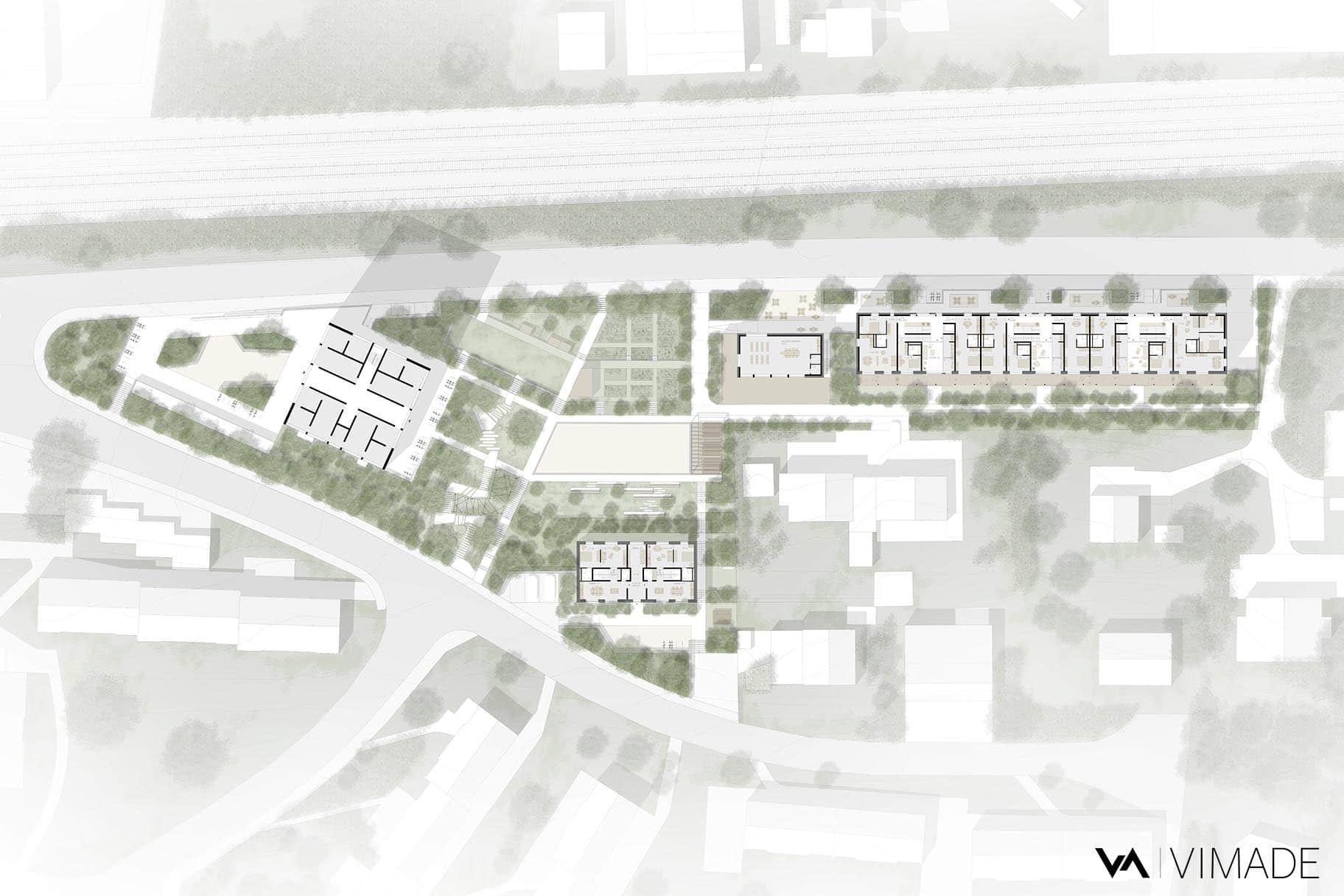 Plan masse des aménagements extérieurs pour un concours d'architecture pour des logements coopératif au Chemin Mettlen à Bienne, VIMADE Architectes paysagiste et ATBA Architectes