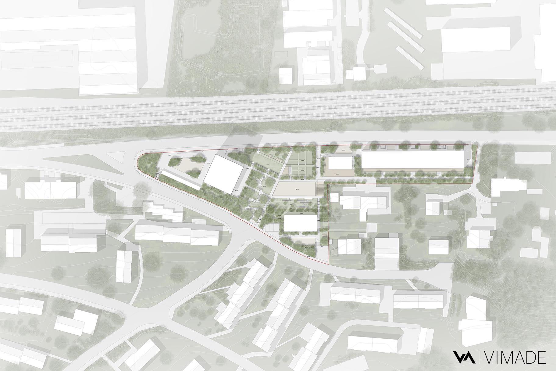 Plan d'ensemble pour un concours d'architecture pour des logements coopératif au Chemin Mettlen à Bienne, VIMADE Architectes paysagiste et ATBA Architectes
