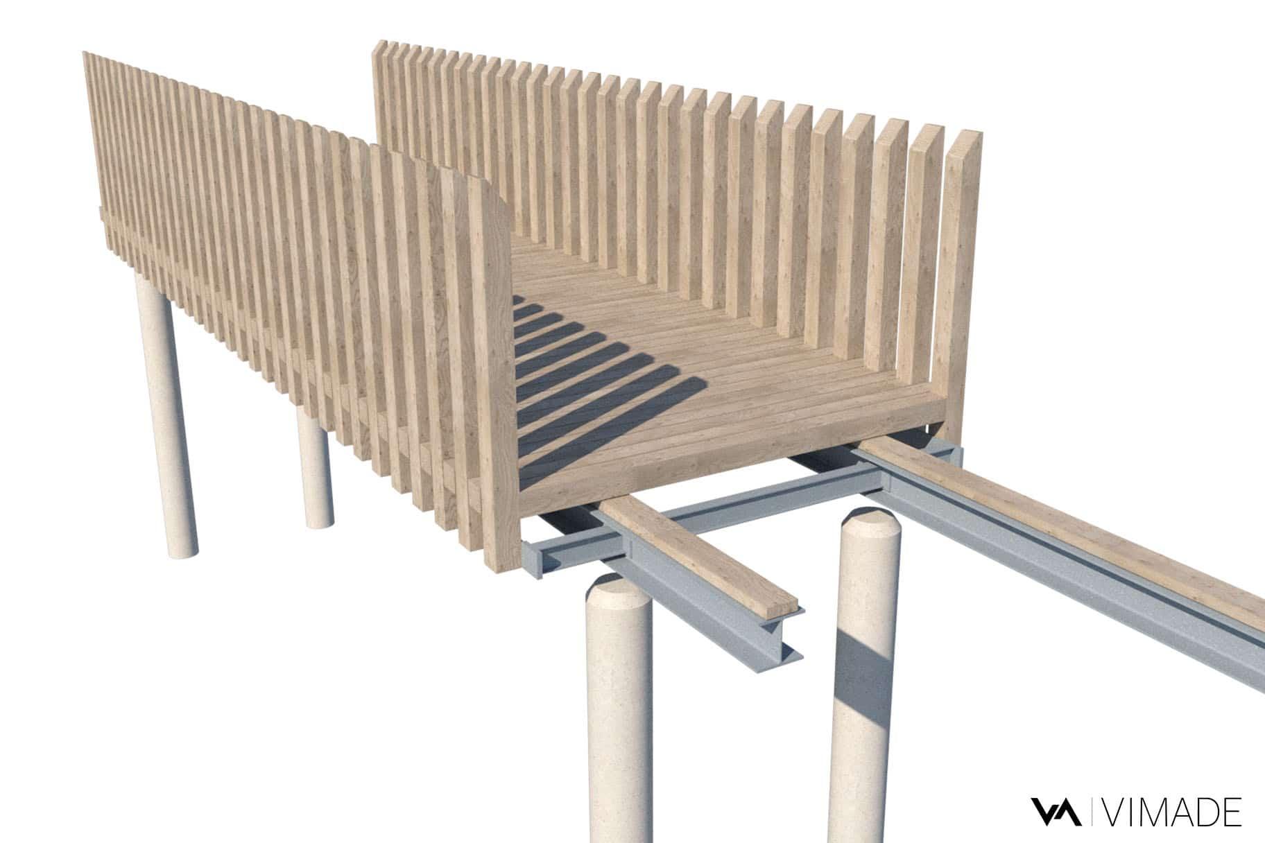 Détail technique de la passerelle en bois du parc William Rappard, modélisation 3D