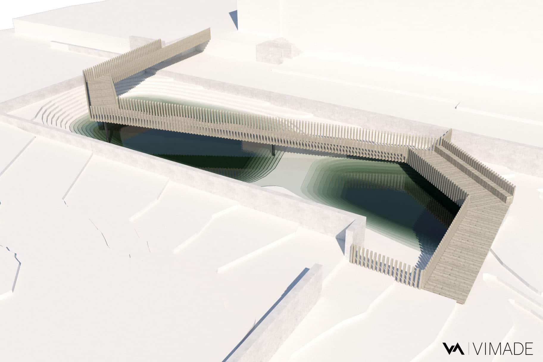 Maquette 3D de la passerelle du parc William Rappard représentant la rétention de l'eau dans le biotope en cas de forte pluies.
