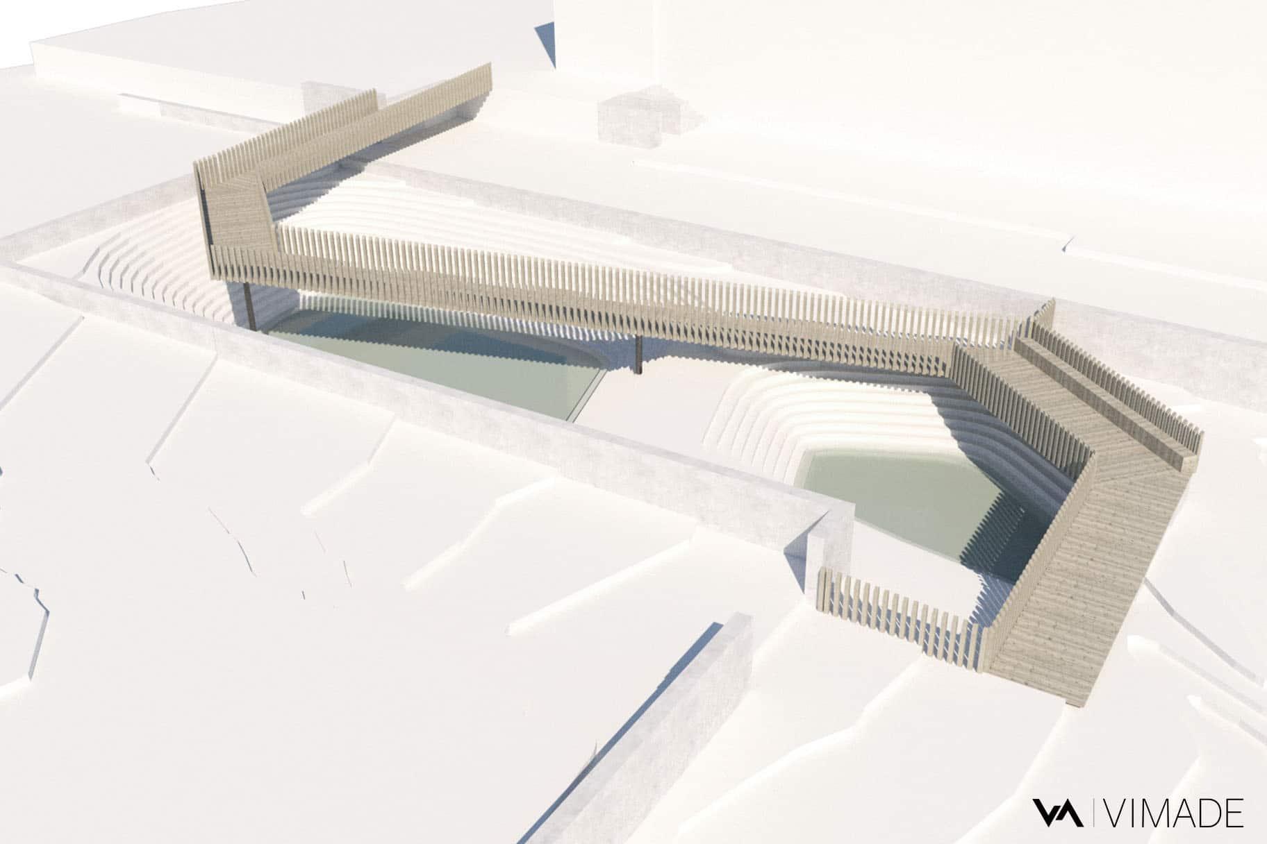 Maquette 3D de la passerelle du parc William Rappard représentant la rétention de l'eau dans le biotope.