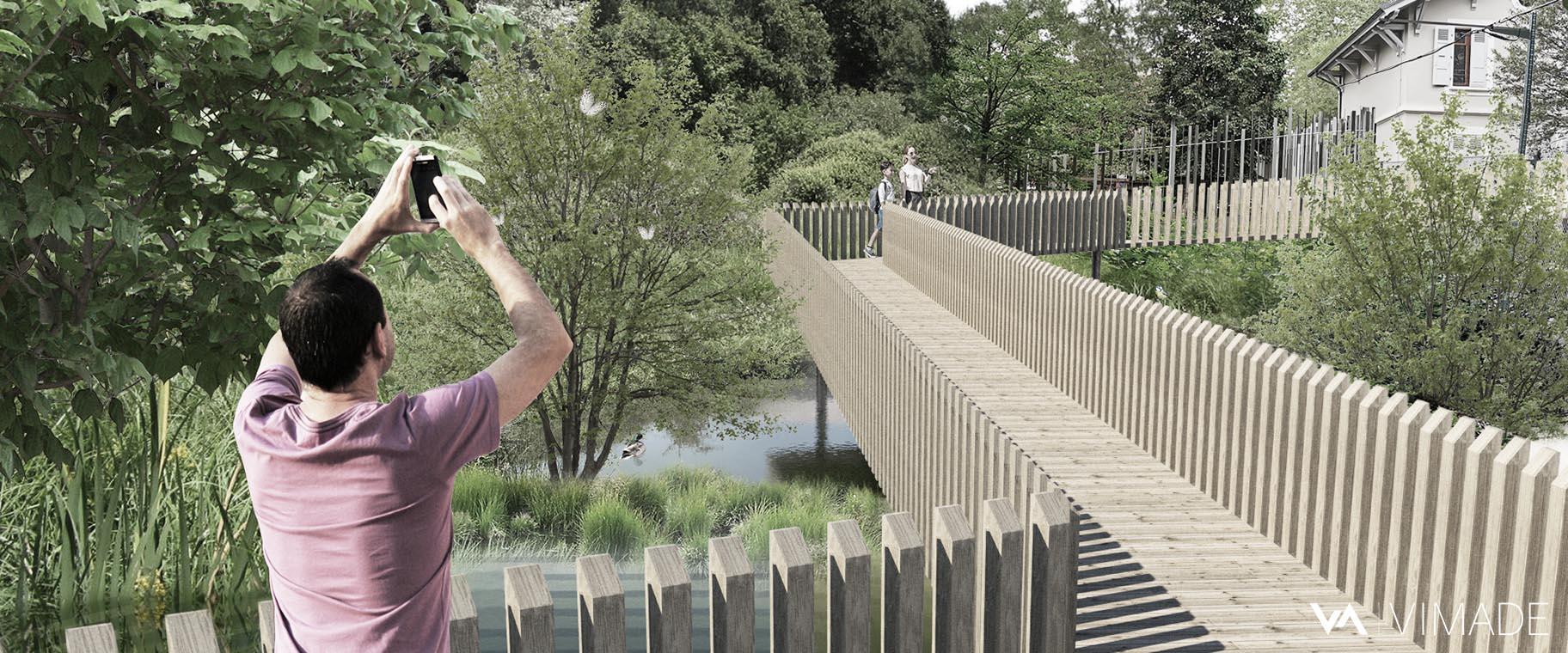 Projet d'aménagement paysager d'un bassin de rétention favorable à la biodiversité et l'écologie avec une passerelle en bois.