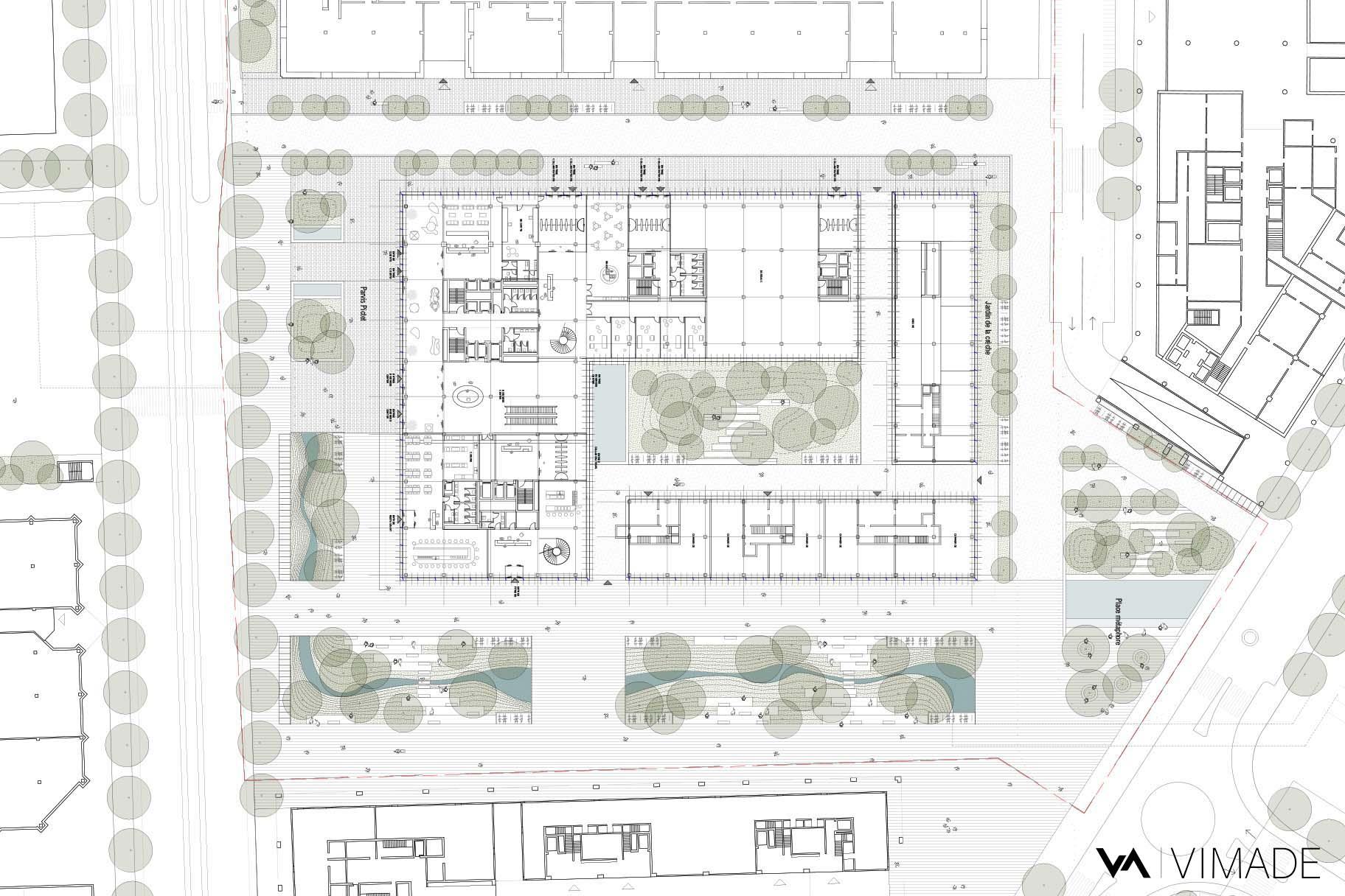 Plan de projet d'aménagement de la place autour de la tour Etoile 1 pour le PAV avec la renaturation de la Drize.