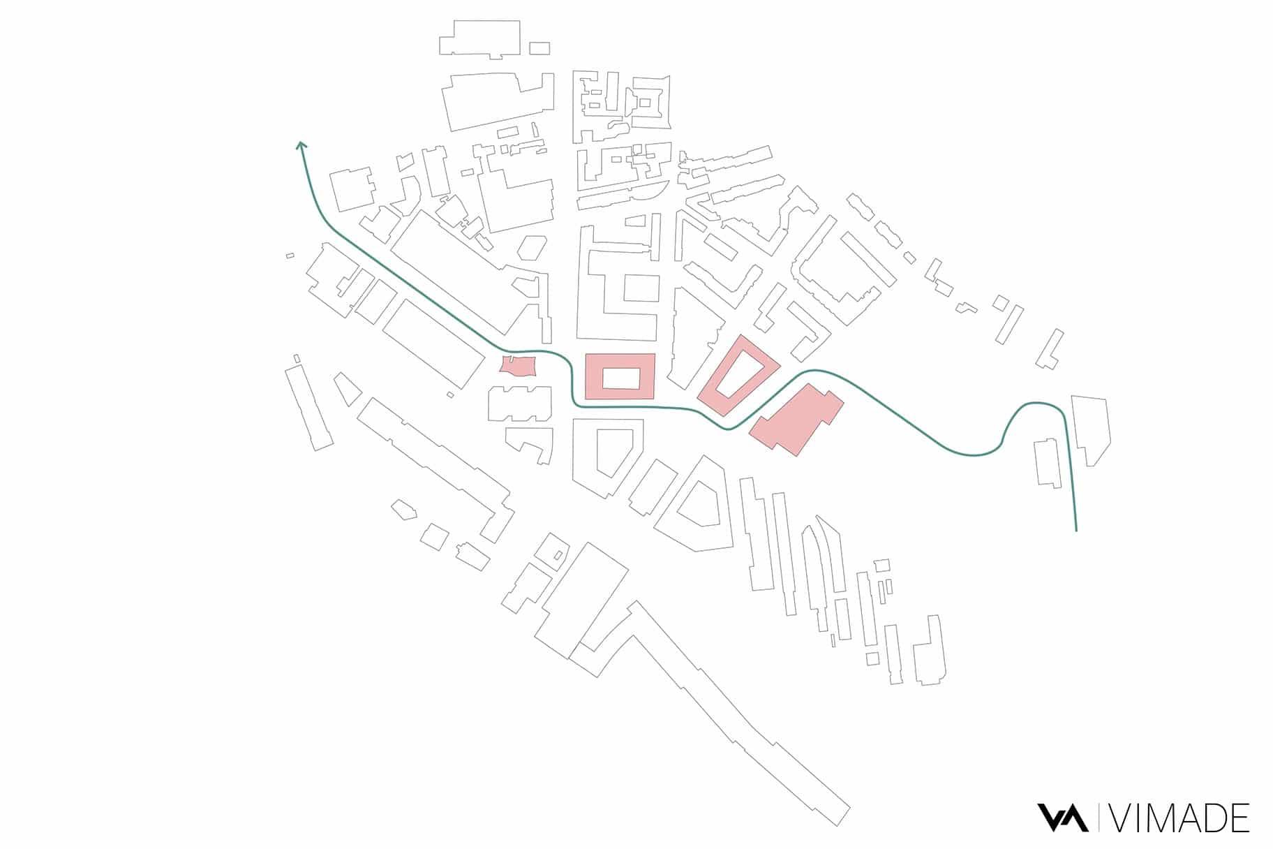 Schéma de projet d'aménagement de la place autour de la tour Etoile 1 pour le PAV avec la renaturation de la Drize.