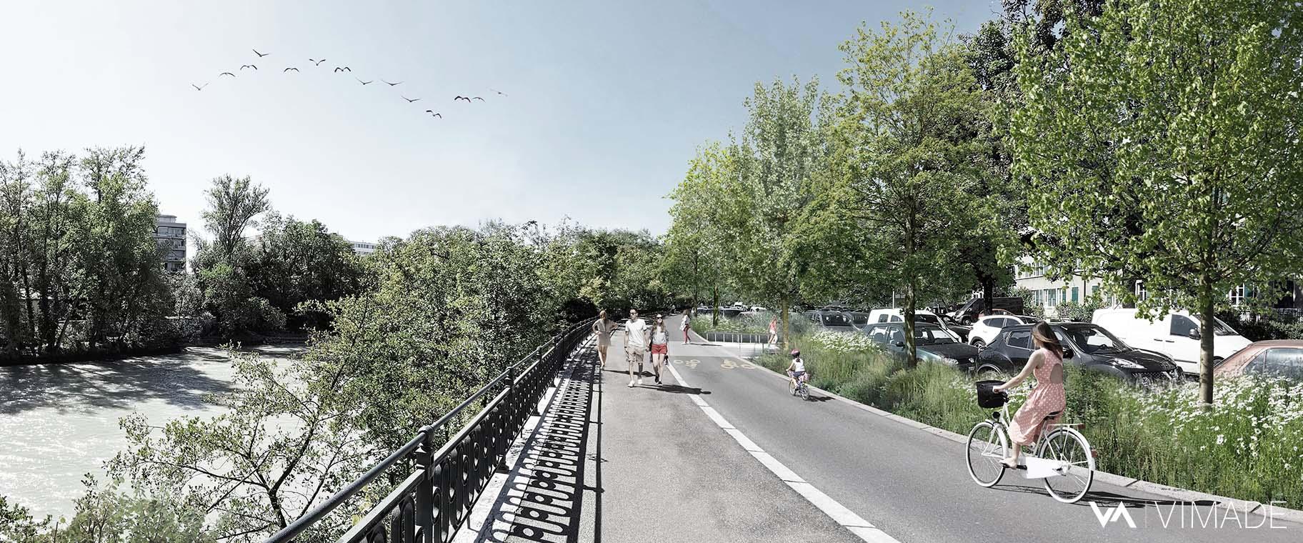 Perspective pour l'image directrice de l'aménagement des quais de l'Arve à Genève par le bureau VIMADE Architectes paysagistes.