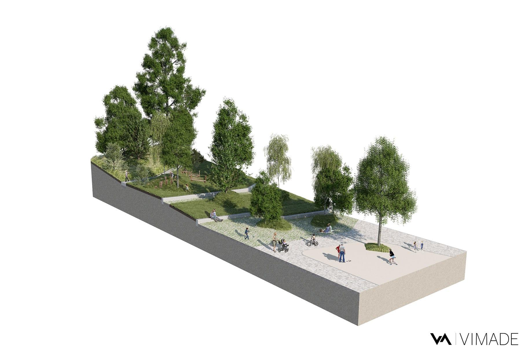 Bloc diagramme pour un projet d'aménagement paysager écologique et coopératif pour les coopératives CODHA et SOCOOP à Genève par le bureau VIMADE Architectes paysagistes