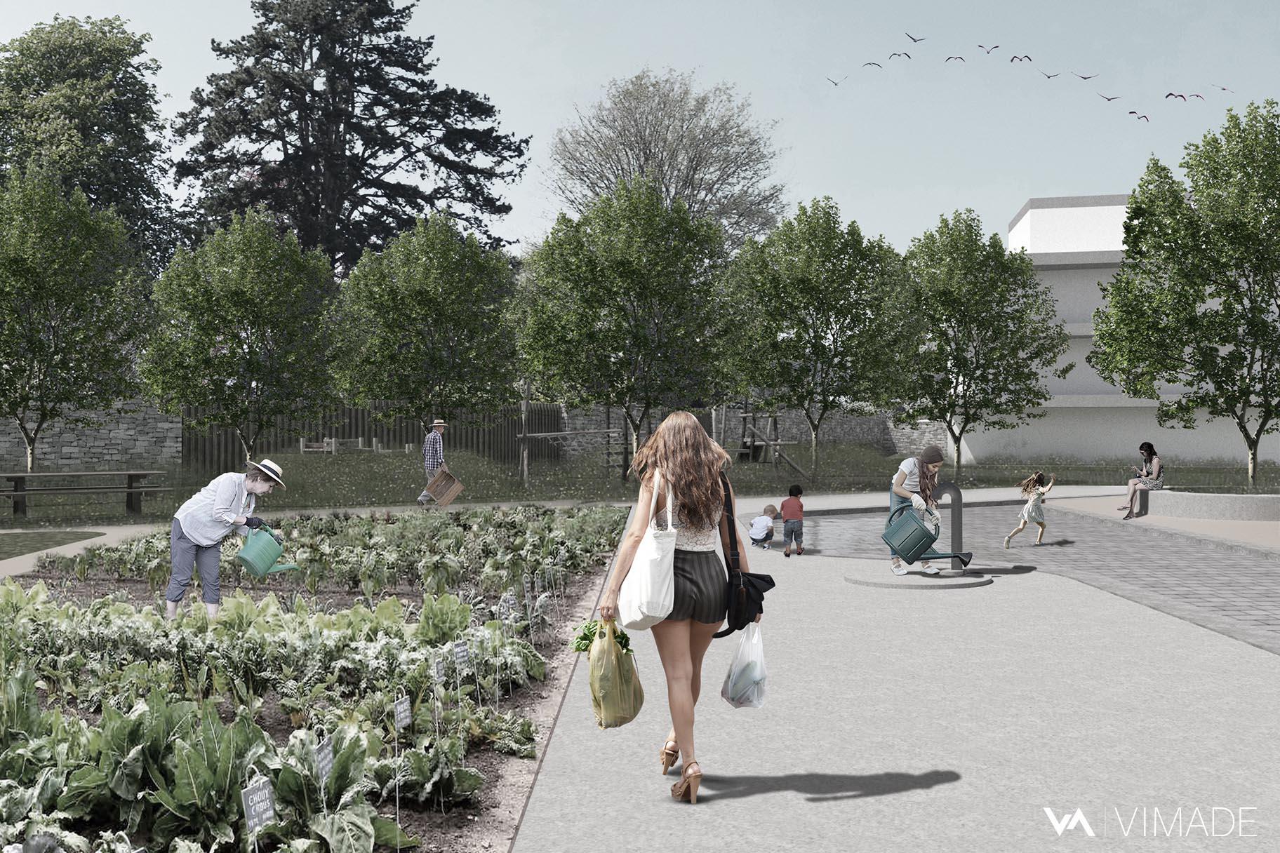 Concours d'aménagement paysager pour l'écoquartier La possession à Corcelles-Cormondrèche avec potagers urbains partagés par le bureau VIMADE Architectes paysagistes