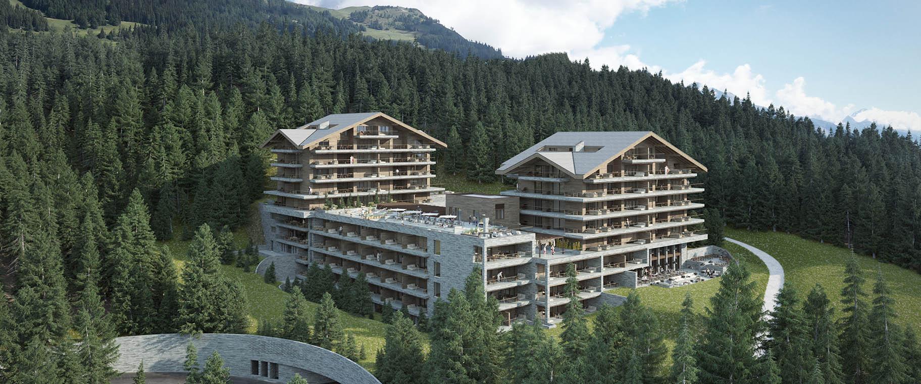 Projet d'aménagement paysager pour l'hotel Six Senses de Crans-Montana par VIMADE Architectes paysagistes