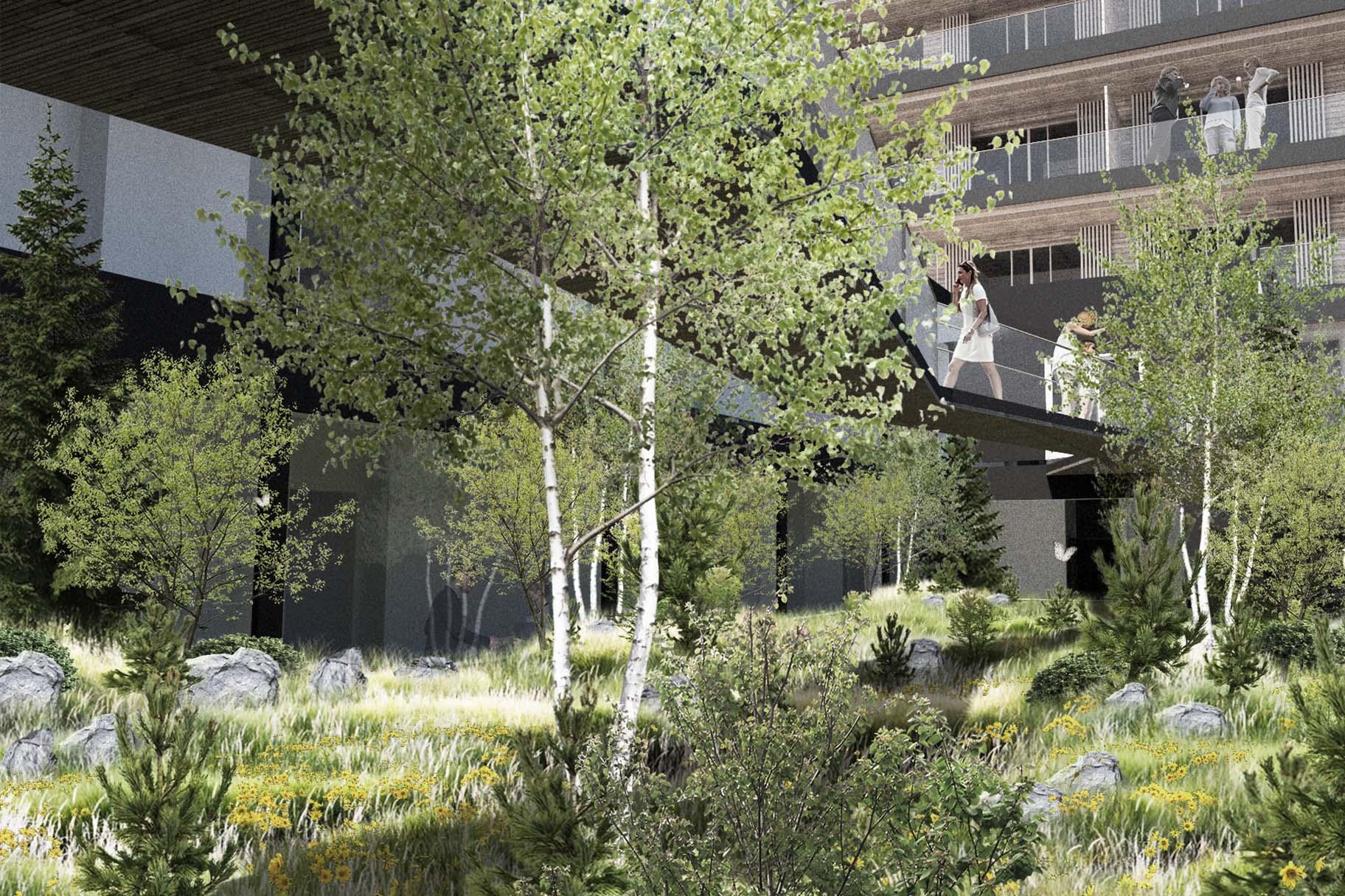 Projet d'aménagement paysager pour l'hotel Six Senses de Crans-Montana par VIMADE Architectes paysagistes, patio planté et passerelle.