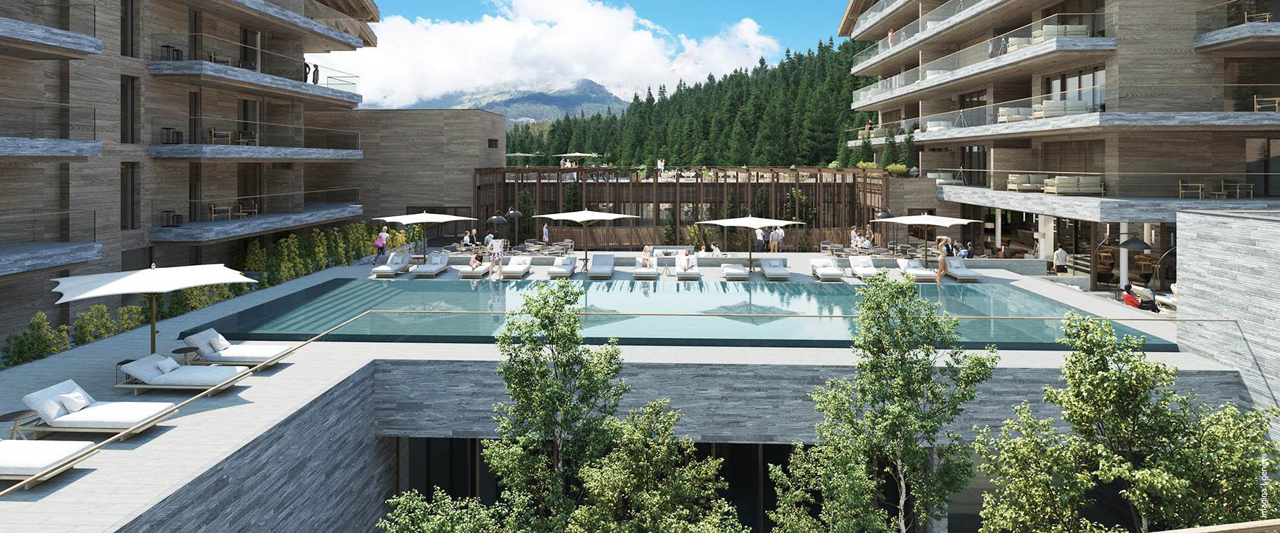 Projet d'aménagement paysager pour l'hotel Six Senses de Crans-Montana par VIMADE Architectes paysagistes, piscine et vue sur les alpes.