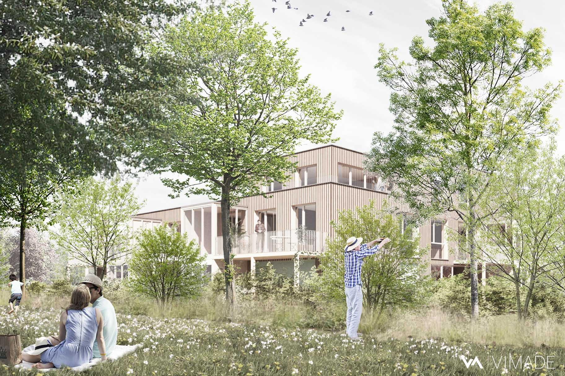 Projet d'aménagement paysager écologique pour des logement collectifs à Pinchat, Veyrier avec prairies et haies vives indigènes par VIMADE Architectes paysagistes.