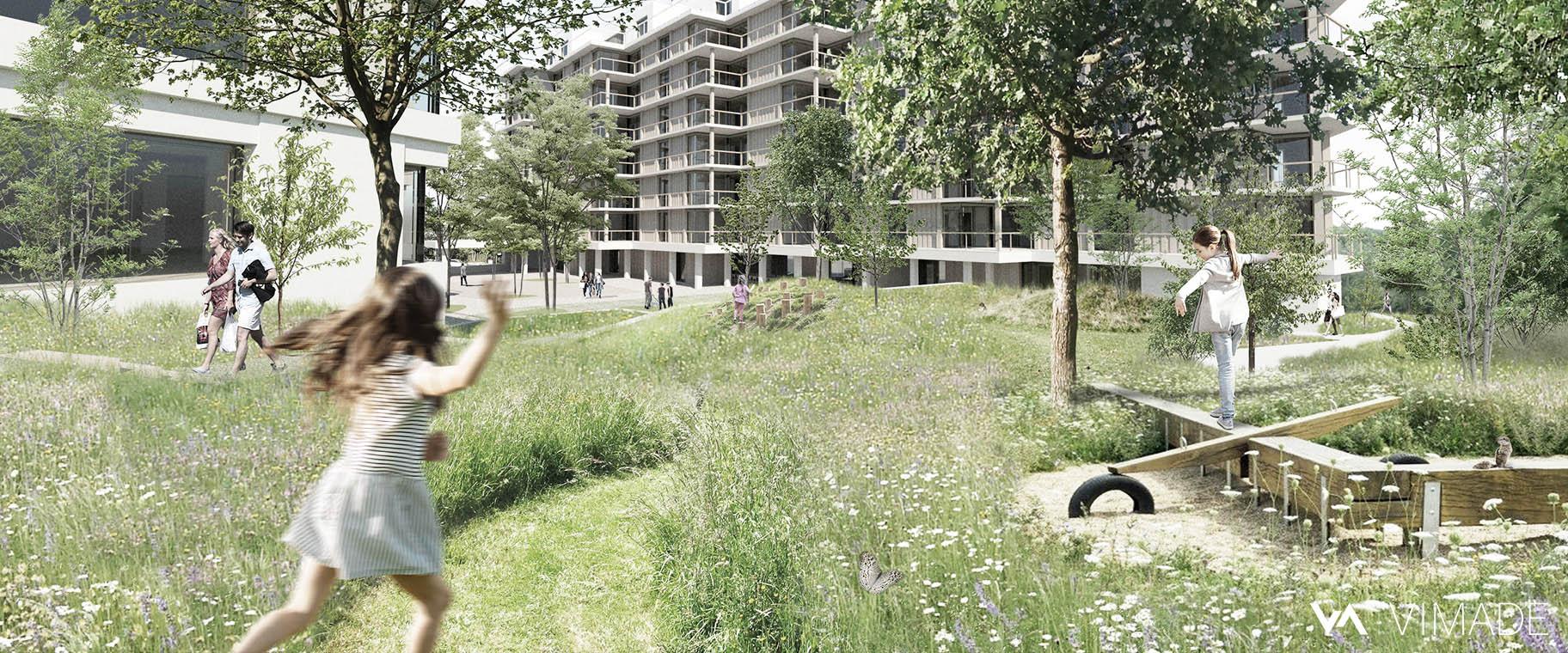Projet d'aménagement écologique pour les coopératives CODHA et SOCOOP à Genève par le bureau VIMADE Architectes paysagistes