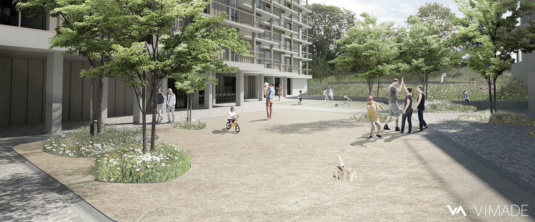 Projet d'aménagement écologique et coopératif pour les coopératives CODHA et SOCOOP à Genève par le bureau VIMADE Architectes paysagistes