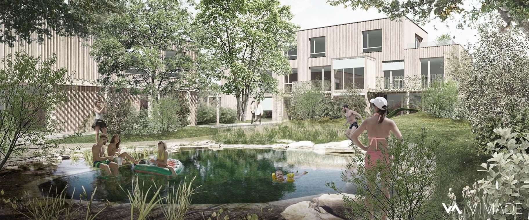 Projet d'aménagement paysager écologique pour des logement collectifs à Pinchat, Veyrier avec piscine écologique par VIMADE Architectes paysagistes.