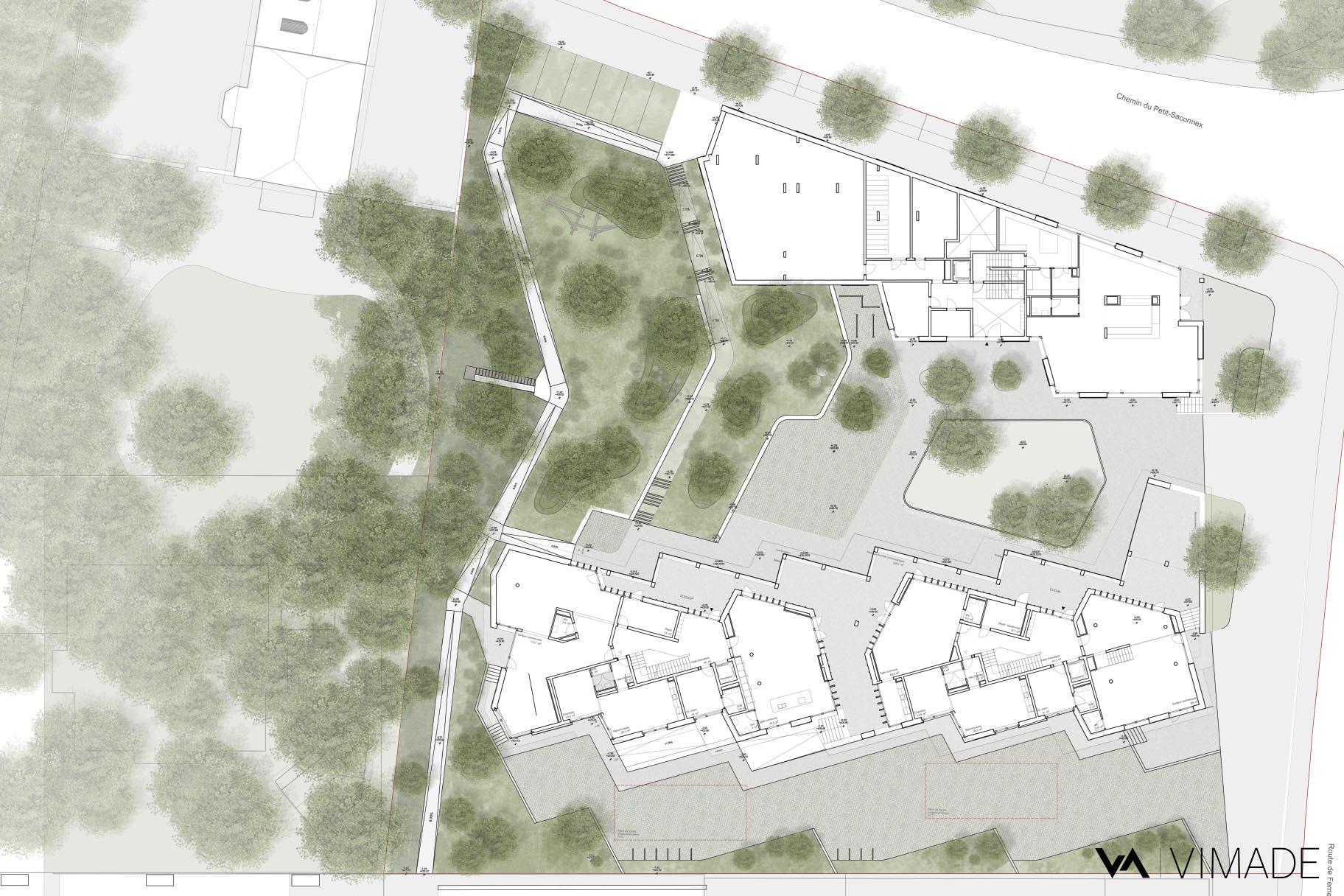 Plan d'aménagement paysager écologique et coopératif pour les coopératives CODHA et SOCOOP à Genève par le bureau VIMADE Architectes paysagistes