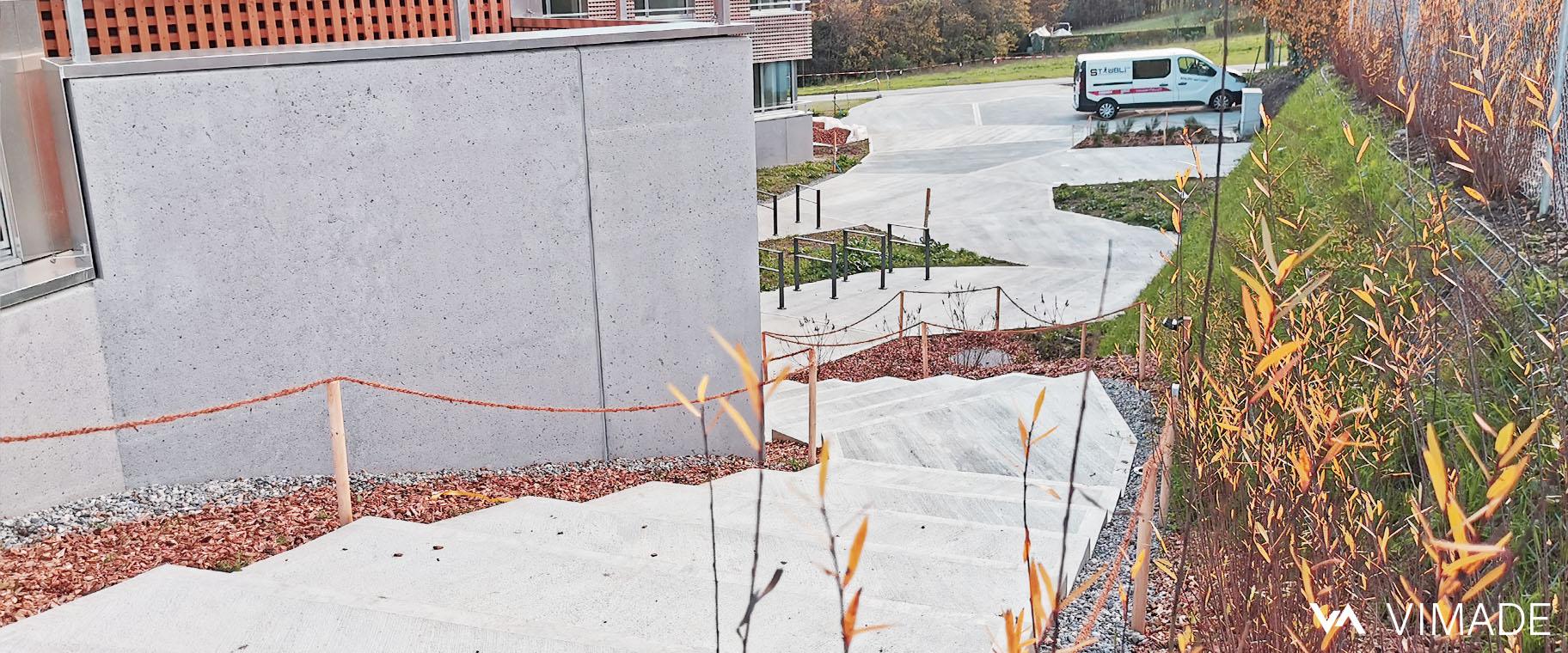 Projet d'aménagement paysager pour les logement de l'OFCL à Vernier par le bureau VIMADE Architectes paysagistes