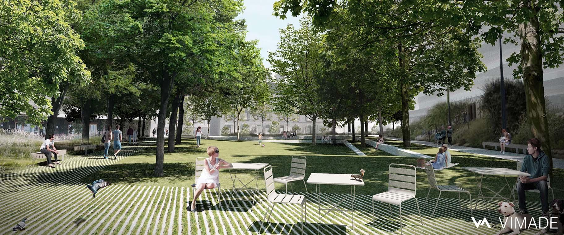 Image directrice paysagère pour le plan localisé de quartier Tannerie-Guillocheur à Carouge avec un parc au coeur, VIMADE Architectes paysagistes