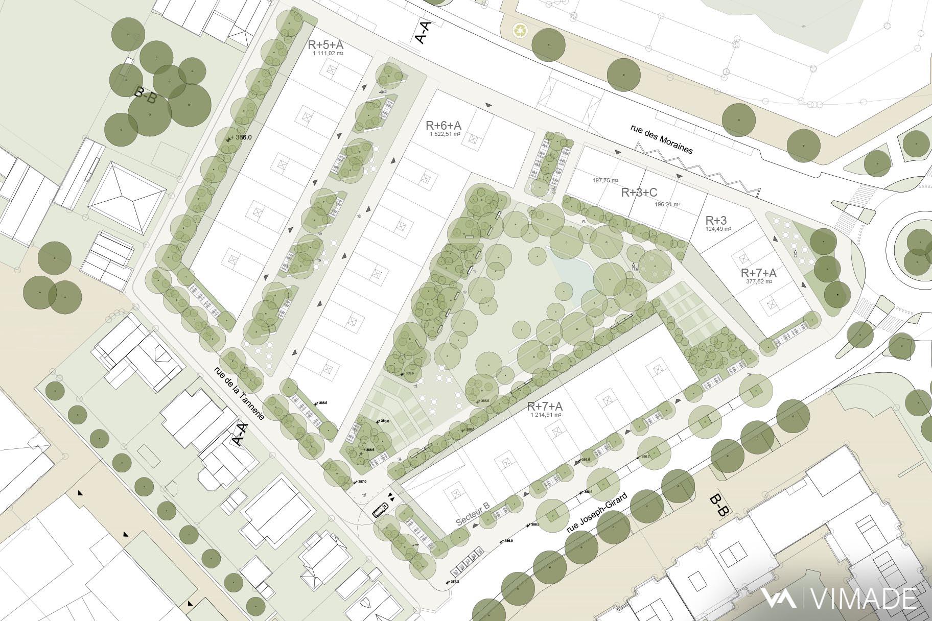 Image directrice plan localisé de quartier Tannerie Guillocheur à Carouge par le bureau VIMADE Architectes paysagistes Genève.